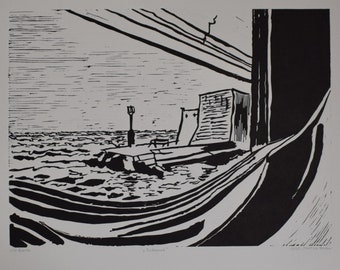 DUBROVNIK linocut. A view from a boat window.