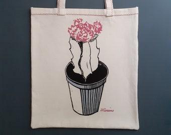 PINK FLOWER CACTUS, a linocut tote bag.