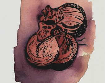 CASTANETS linocut (a hand-colored variation)