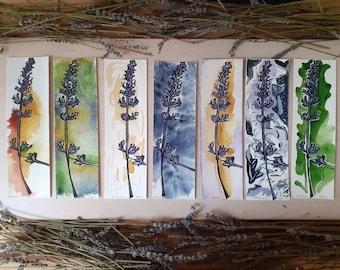 Lavender linocut bookmark