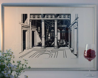 CA' REZZONICO linocut: a Venetian palace.