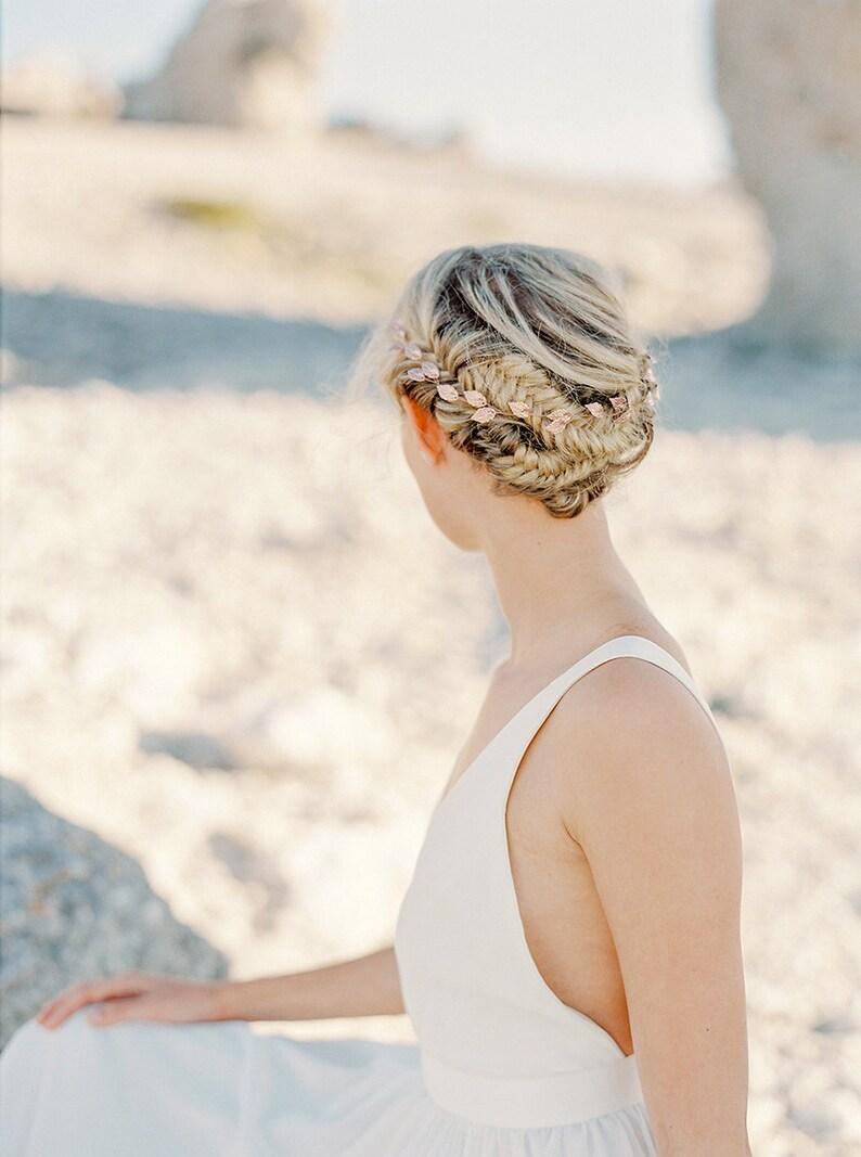 Rose gold bridal headband-Antique leaf headpiece-Bridal-Rose image 0