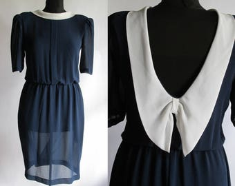 Vintage 80s Sheer Navy Dress w  Bow by PATTY O NEIL 6a5afbb4368