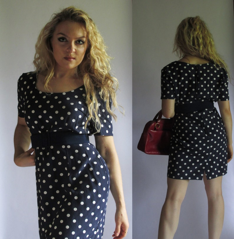 c94d4e6b4d81 Vintage 80s Mini Dress by MY MICHELLE Size S Polka Dot | Etsy
