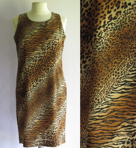 Vintage Animal Print Dress by E. MORGAN Size 8 Medium  d9c9d1feb