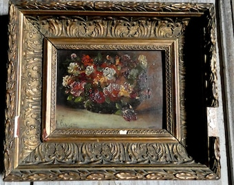 small antique french flower bouquet painting
