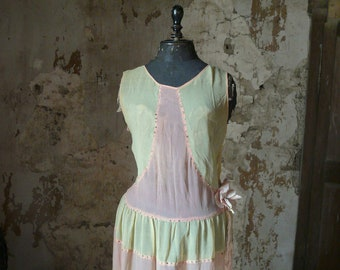 vintage art deco flapper 1920 chiffon drop waist dress