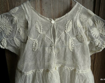 antique french tulle lace handmade toddler child dress