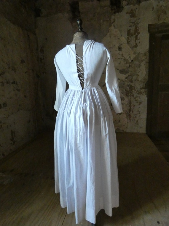 antique french early white cotton dress - image 6