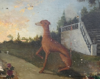 18th century antique french dog  greyhound painting