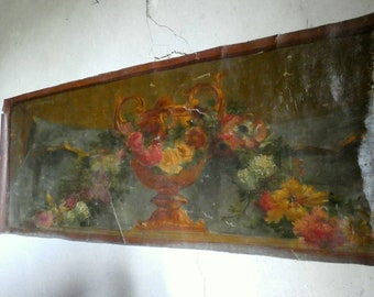 large antique french chateau trompe l'oeil design oil on canvas  vase of flowers draped with gardlands