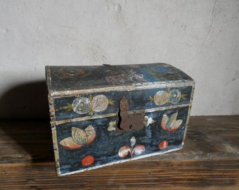 antique french wooden painted  wedding box