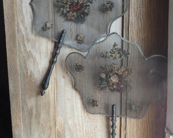 pair antique french face screens  needlepoint embroidery metal mesh (ca1830)