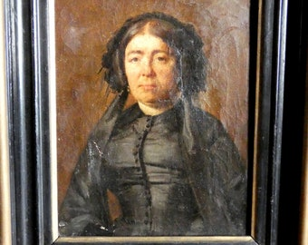 small antique french woman portrait painting oil on canvas