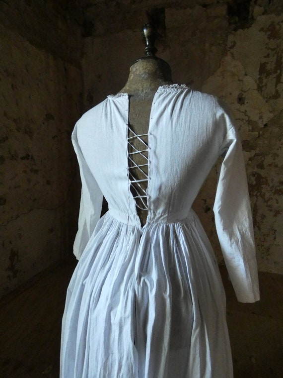 antique french early white cotton dress - image 4