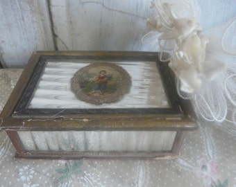 antique silver glass box