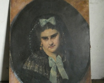 RESERVED for T. antique french oil on canvas portrait painting