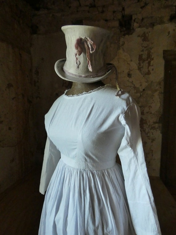 antique french early white cotton dress - image 3