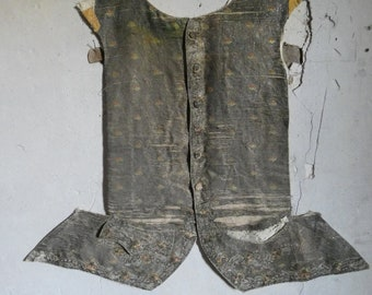 antique 18th century ca 1750 silver metallic brocade embroidered  court waistcoat  gilet front