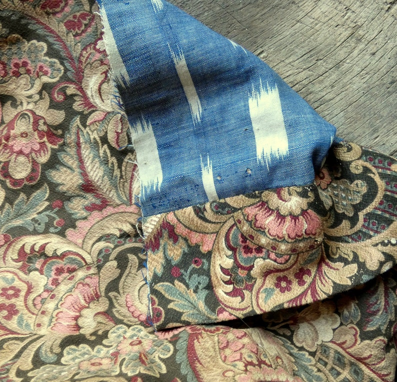antique 1850 french fabric fragment image 0