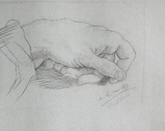 antique french academic  1877 drawing of a hand