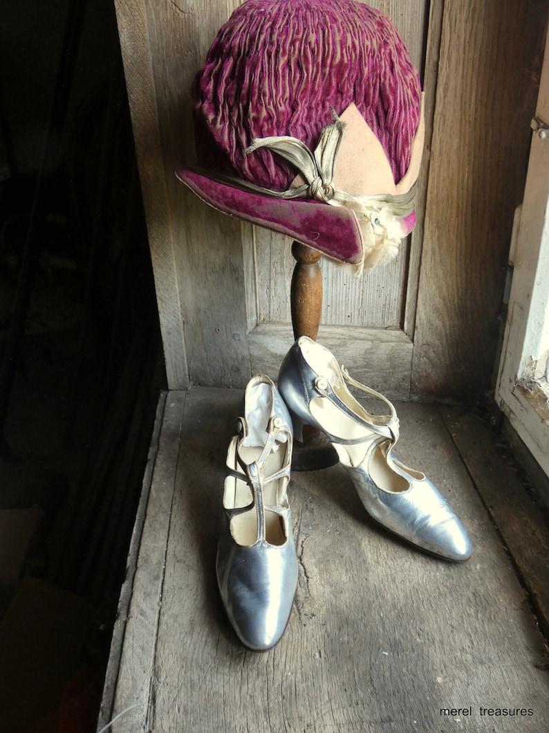 antique 1920 flapper art deco silver dance shoes image 0