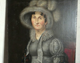 antique french regency 1800 oil painting portrait woman