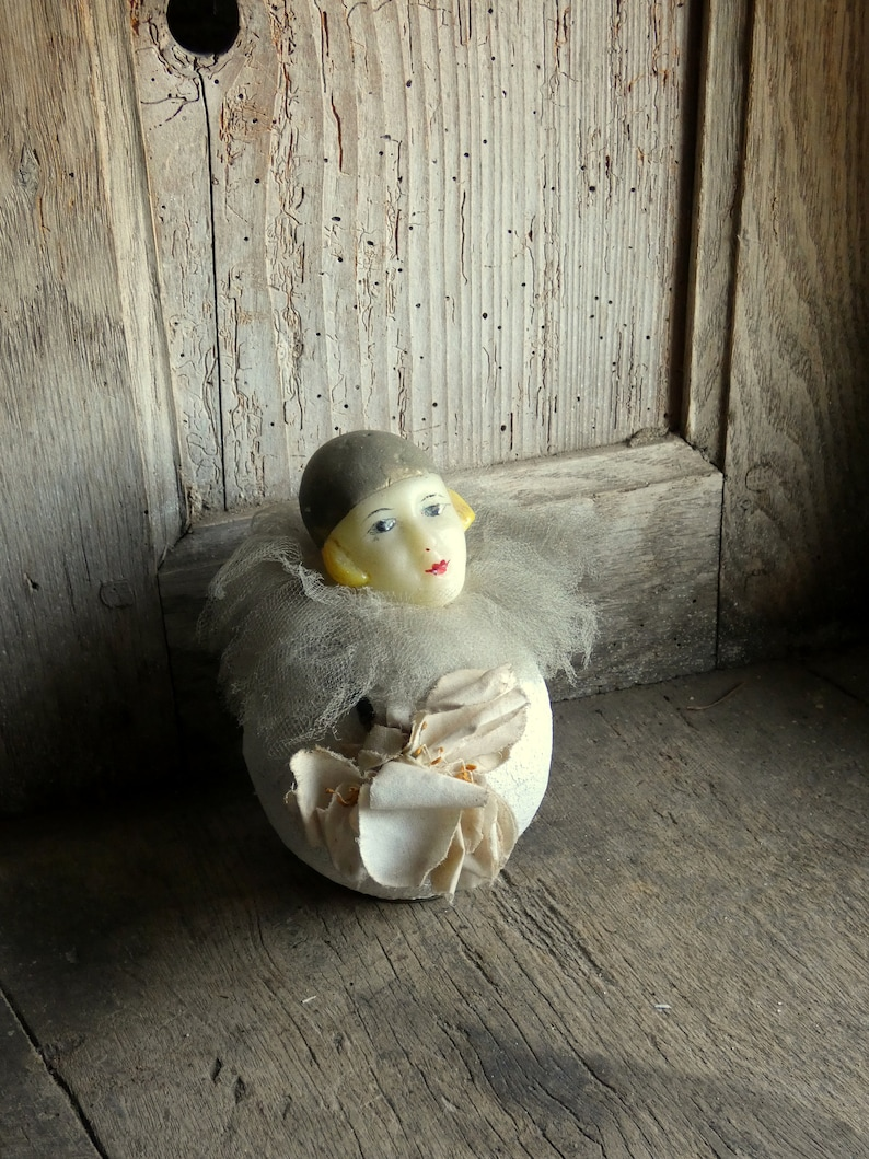antique wax head pierrot doll candy container image 0