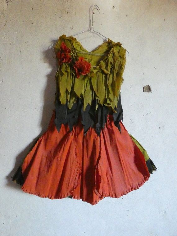antique vintage crepe paper poppy flower dress cos
