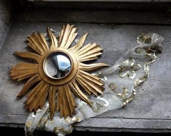 vintage french mid-century 1950 gilded gilt wood sunburst sun convex mirror