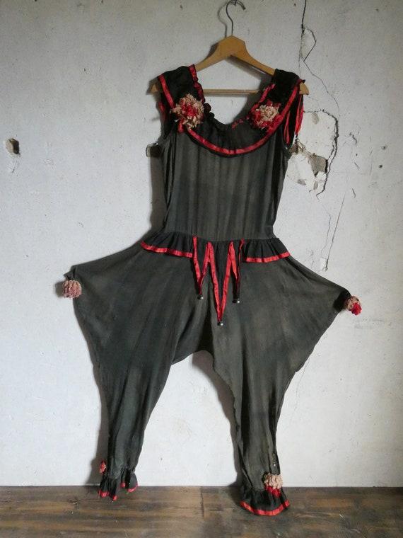antique harlequin clown pierrot  costume 1920s