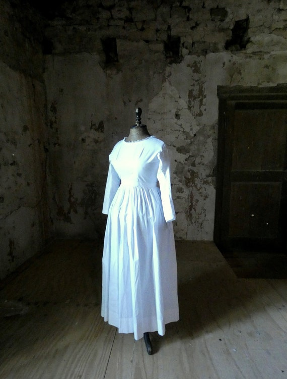 antique french early white cotton dress - image 1