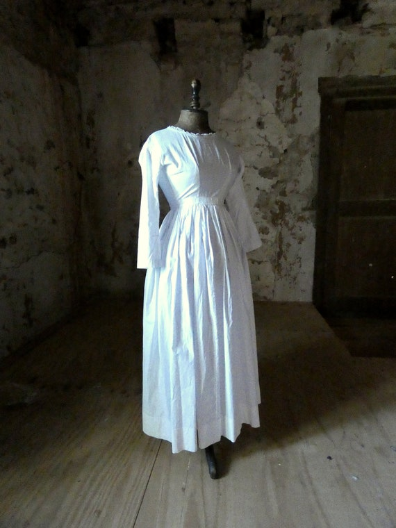 antique french early white cotton dress - image 2