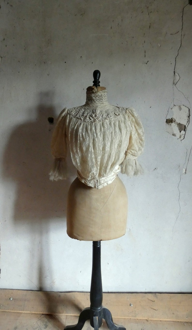 antique victorian French lace bodice image 0