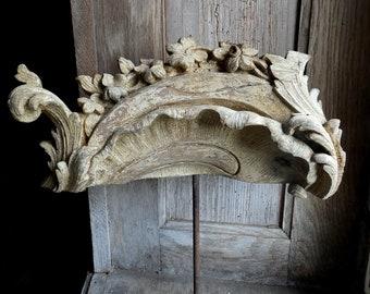 antique 18th century french gilded wood carved ornament architectural  fragment