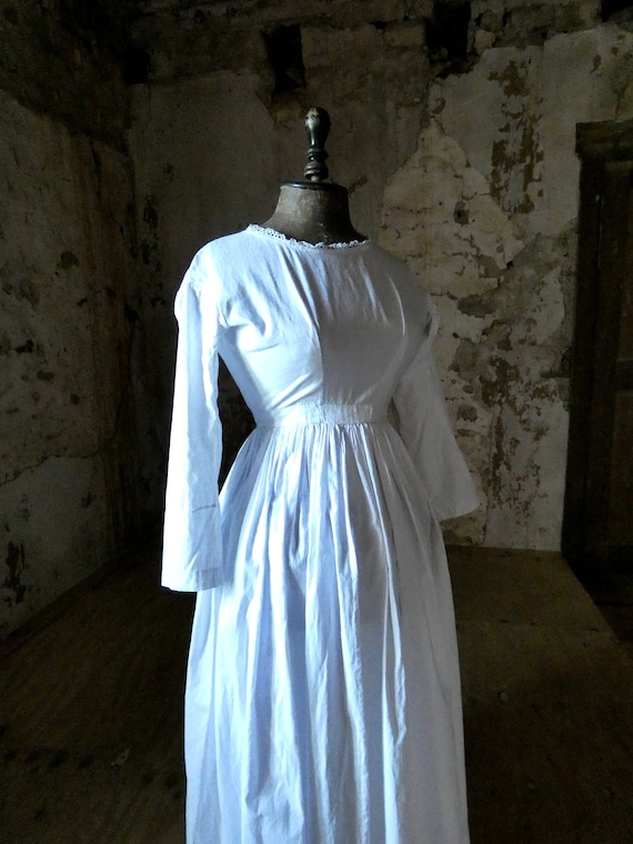 antique french early white cotton dress - image 5