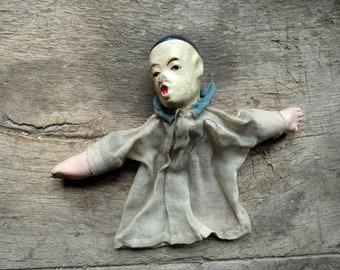 antique french paper mache  pierrot marionette puppet theatre