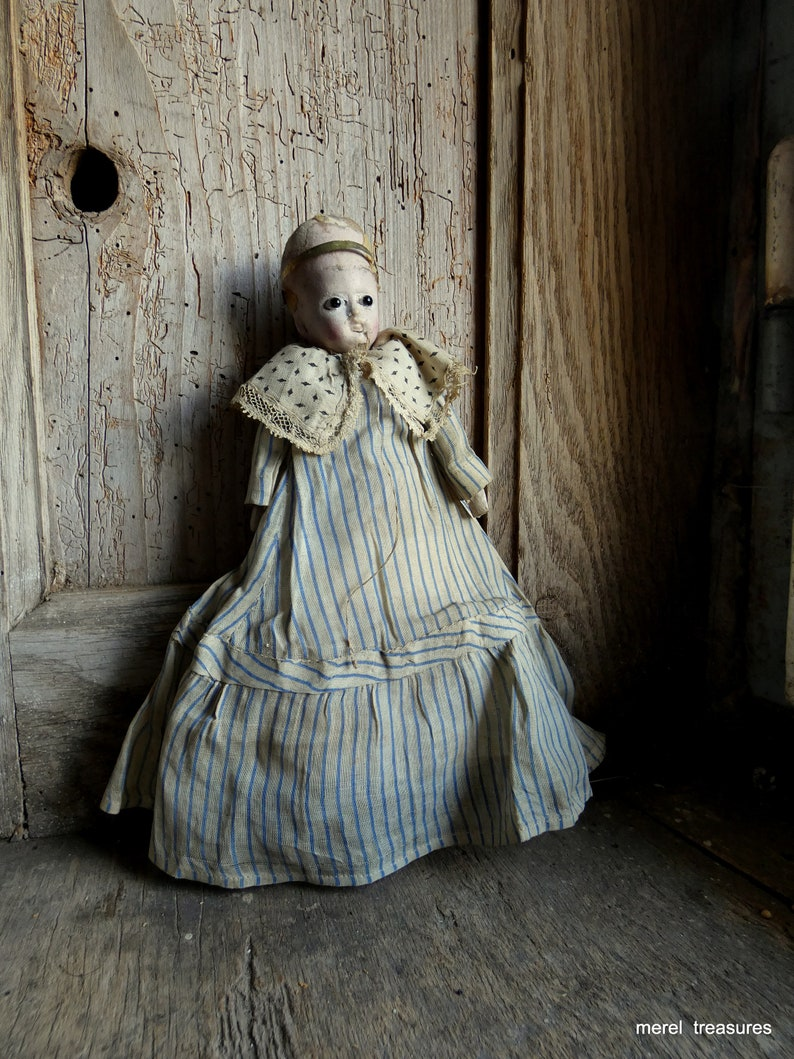 antique 1850 doll with glass eyes image 0