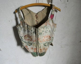 antique french 18th  century ca 1725 brocade stays corset