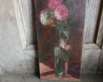 antique french small oil on wood panel  painting bouquet flowers