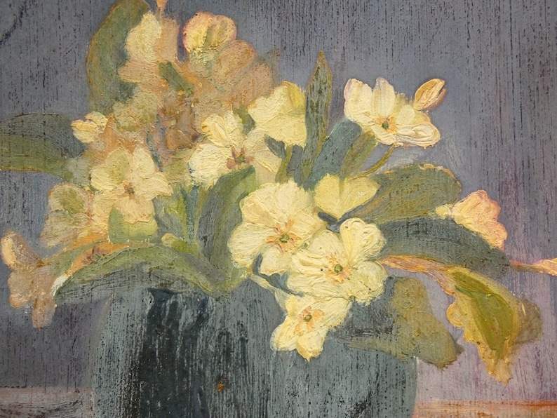 antique french flower bouquet  painting on board 1920 image 0