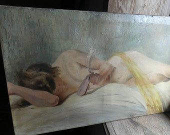 antique french oil on canvas painting nude portrait