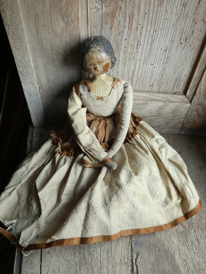 antique 18th century shabby chic hand carved wooden doll image 0