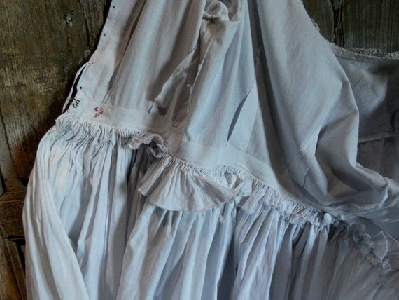 antique french early white cotton dress - image 8