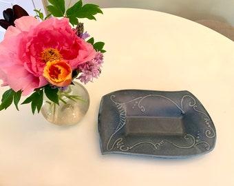 Small Blue Platter, Blue Ceramic Platter, Handmade Ceramic Plate, Hand built Stoneware Tray, Ceramic Serving Dish, Unique Little Platter