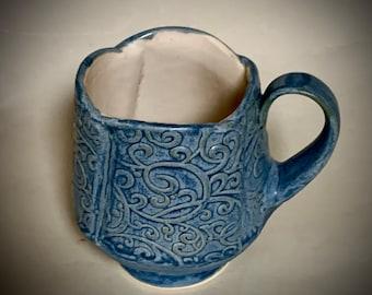 Handmade Ceramic Mug, Handbuilt Mug, Stoneware Mug, Beautiful Textured Mug, Slate Blue Ceramic Mug, Beautiful Large Mug, Coffee Mug, Tea Mug