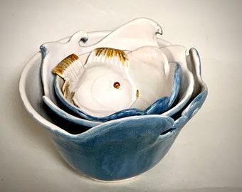 Set of Nesting Bowls, Ceramic Nesting Bowls, Unusual Set of Nesting Bowls, Three Nesting Bowls, Ceramic Bowls, Wheel Thrown Bowls and Spoon