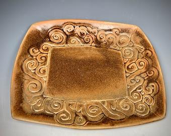 Handmade stoneware Platter, Unique Platter, Gold Stoneware plate, Serving Plate, Veggie Platter, Unusual Serving Dish, Ceramic Platter