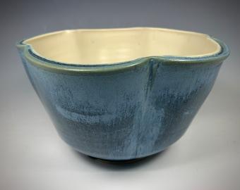 Beautiful Large Blue Bowl, Ceramic Lobed Bowl, Wheel thrown Bowl, Salad Bowl, Fruit Bowl, Stoneware Bowl, Unusual Blue Bowl, Handmade Bowl
