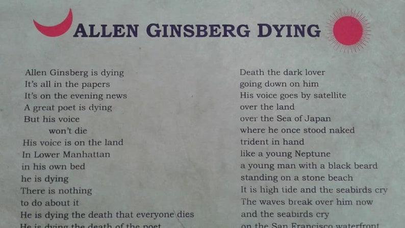 Ferlinghetti Poem Broadside Poster Allen Ginsberg Dying image 0
